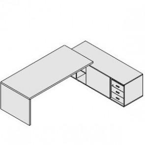 UD202AR Scrivania con mobile di servizio dx/sx e cassettiera