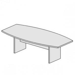 UD202AR Tavolo riunioni cm.250x100/120x74H con piano sagomato e base a pannello