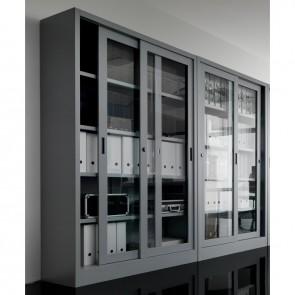 Contenitore Metallico MET122IC con Ante Scorrevoli in Vetro Intelaiato