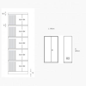 Contenitore Metallico MET122IC Prof.60 cm con Ante a Battente in Metallo